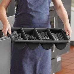 Cutlery Box 4 Compartment Black