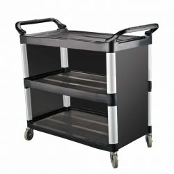 KH Classik Chef Utility Cart 3-Side Enclosed Small Black